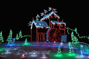 A Christmas lights display in Pigeon Forge at The Old Mill.