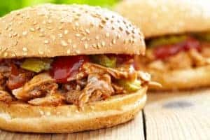 Barbeque pulled pork sandwich