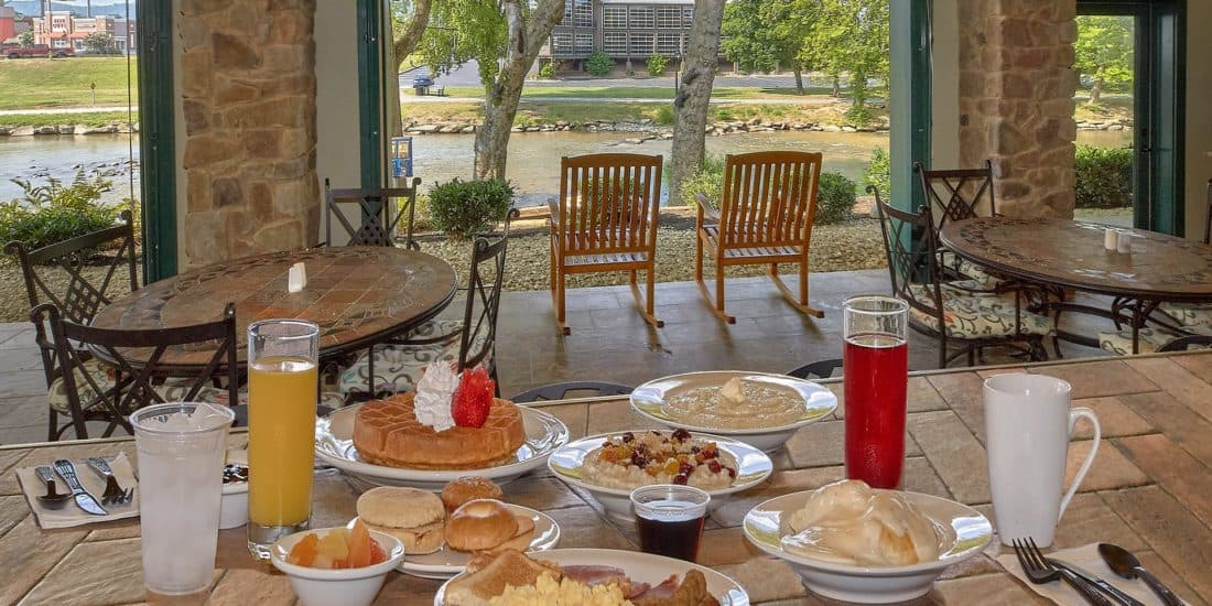 breakfast at the inn on the river