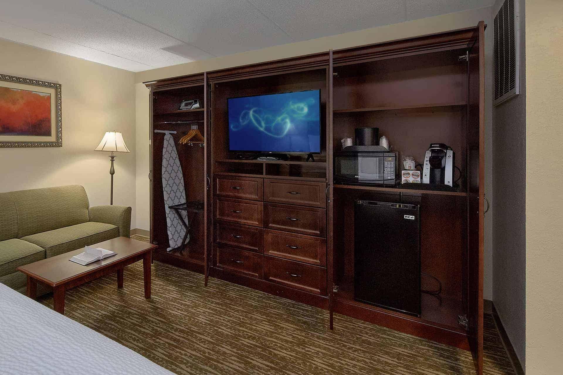 tv and mini bar area